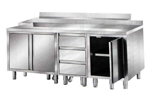 meuble inox avec portes et tiroirs