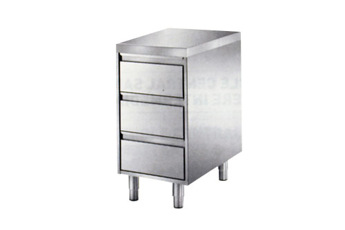 meuble inox avec 3 tiroirs
